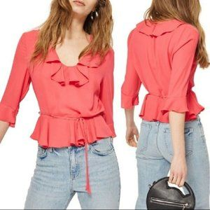 TopShop Pheobe Frilly Ruffle Blouse Top Pink Rose